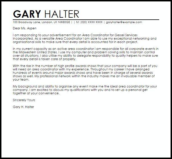 Area Coordinator Cover Letter Sample | LiveCareer