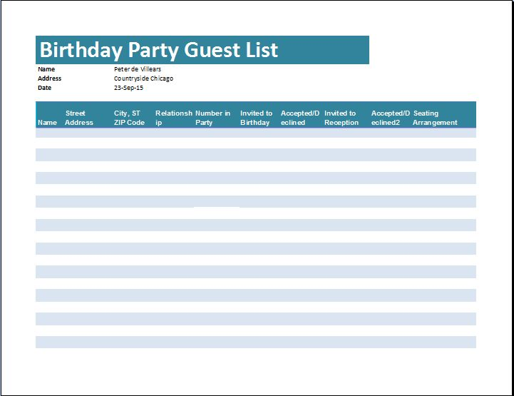 Birthday Party Guest List Template | Word & Excel Templates