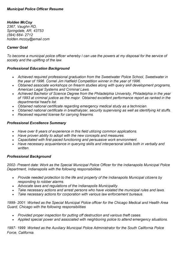 Police Officer Resume Template, best police officer resume example ...