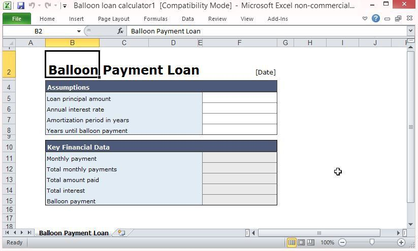 Free Balloon Payment Excel Template