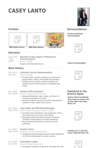Service Representative Resume samples - VisualCV resume samples ...