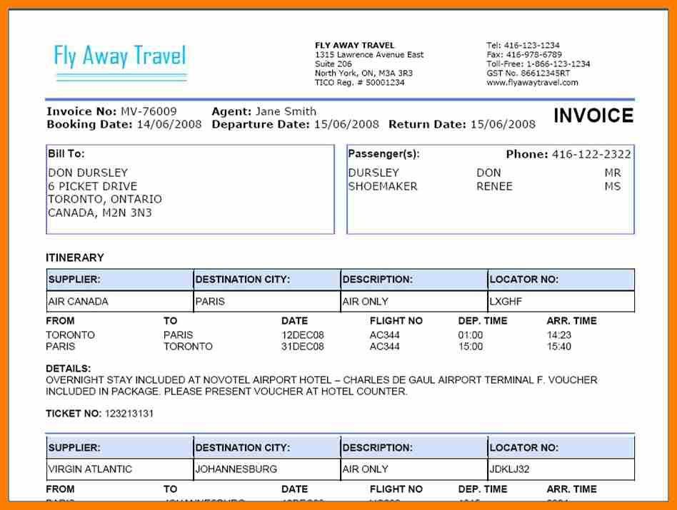 6+ travels bill format in word | science-resume