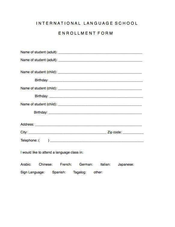 Enrollment Form Template Word | Cvletter.csat.co