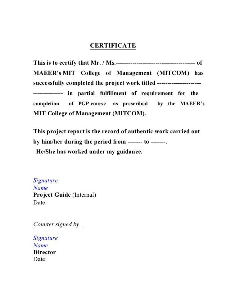 Work completion certificate format 6 work completion certificate project report format by vishal yadclub Images