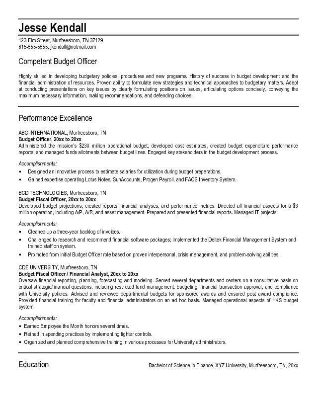 Free Budget Officer Resume Example