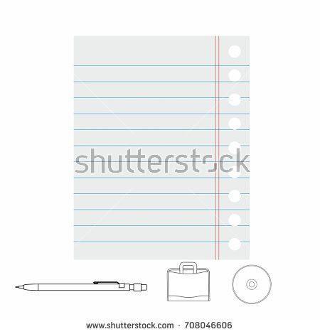 White Lined Paper Sheet Margin On Stock Vector 708046603 ...