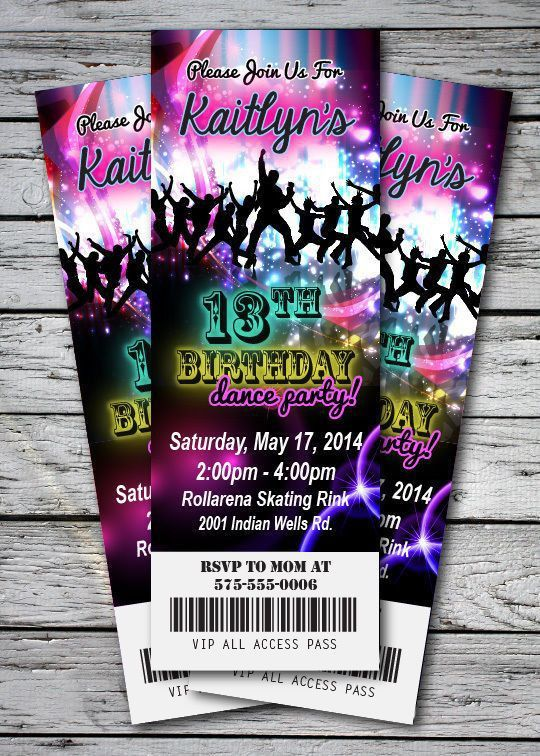 DANCE Disco GLOW NEON Birthday Party Invitation TICKET Stub in the ...
