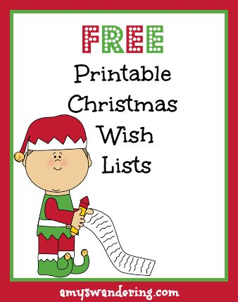 Printable Christmas Wish Lists - Amy's Wandering