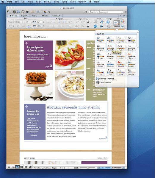 iWork '09 vs Office for Mac 2011 Word 2011 'Advantage' Newsletter ...