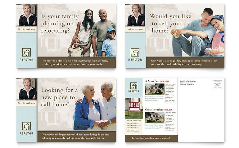 House for Sale Real Estate Postcard Template - Word & Publisher