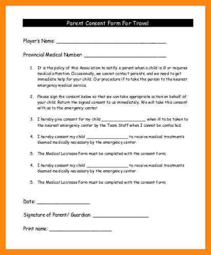 10+ parental consent form for travel | nurse resumed