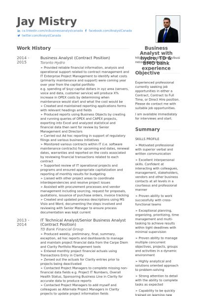 Senior Business Analyst Resume samples - VisualCV resume samples ...