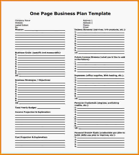 One Page Business Plan Template.Simple One Page Business Plan ...