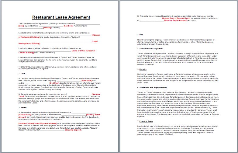 Restaurant Lease Agreement Template | business templates | Pinterest