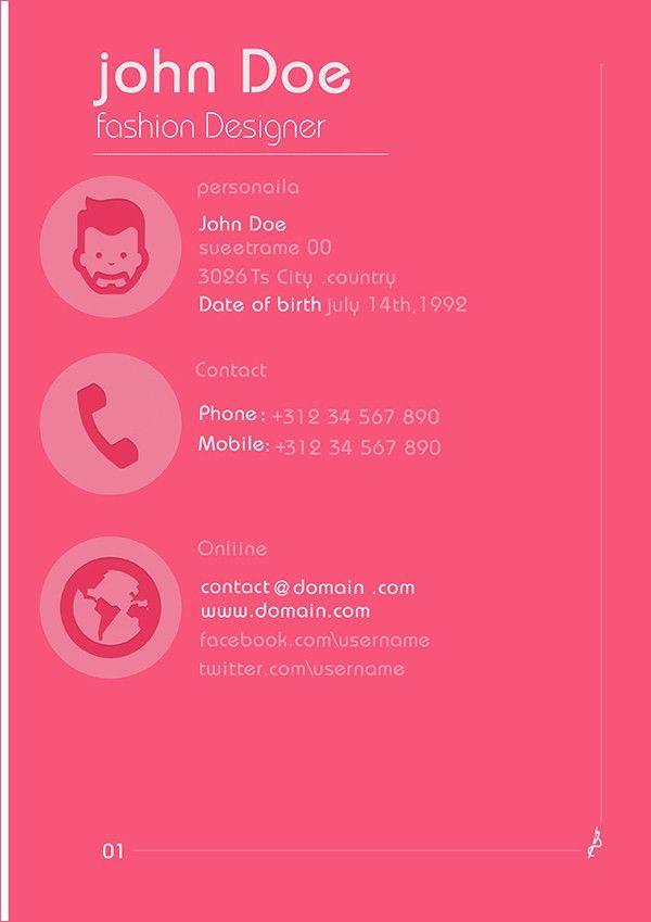 creative fashion designer resume pdf free downlaod. fashion ...