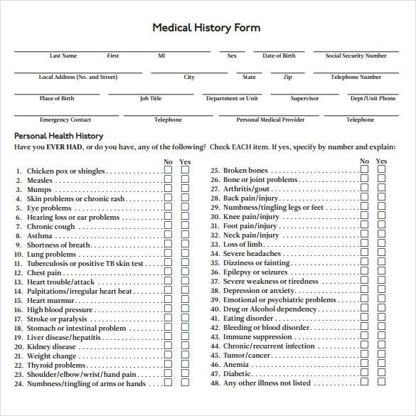 medical history form templates - thebridgesummit.co