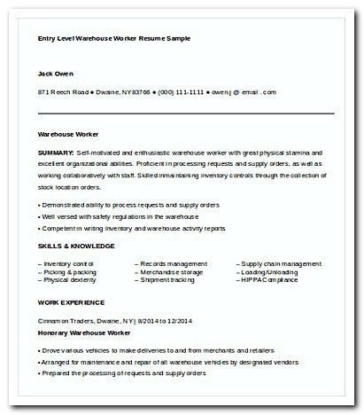 warehouse worker resume template httpgetresumetemplateinfo3295 ...