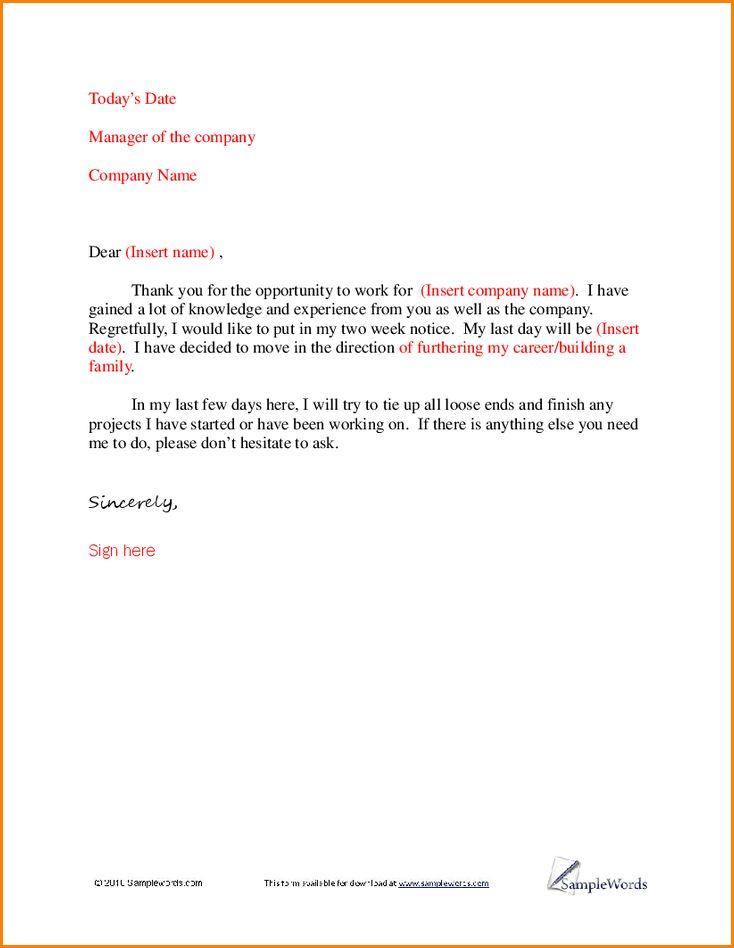 Resignation Letter Format: Basic Ideas Resignation Letter Sample ...