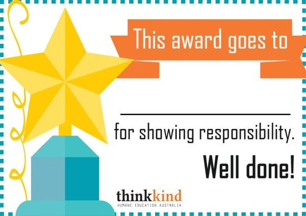 Printable Certificate: Responsibility Award for Kids