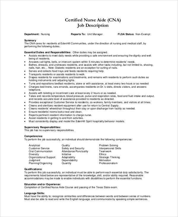 Sample CNA Job Duties - 7+ Documents in PDF, Word