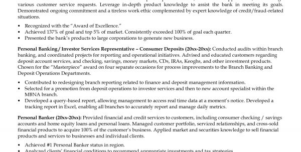 resume of personal banker professional chase personal banker ...