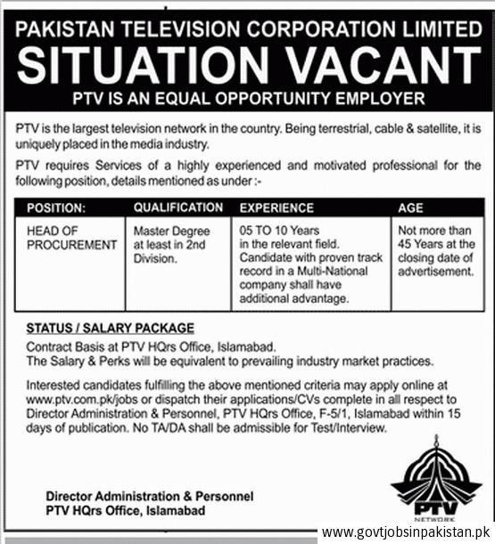 PTV Jobs 2016, Head of Procurement, Pakistan Television ...