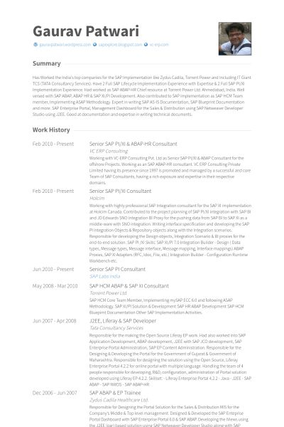 Hr Consultant Resume samples - VisualCV resume samples database