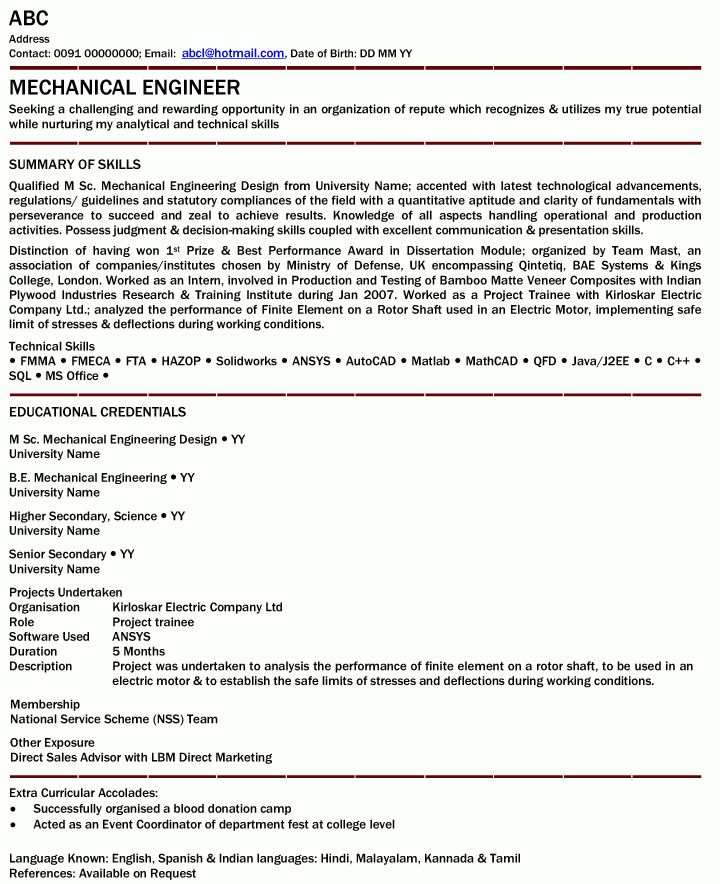 Mechanical Engineer Professional Resume Samples