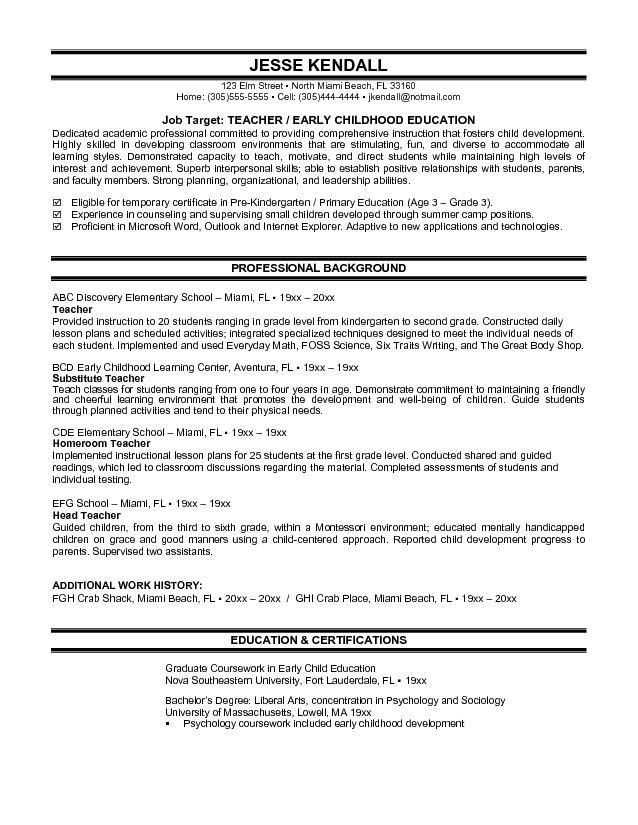 Resume Examples For Teachers. Example Of Teacher Resume Example ...