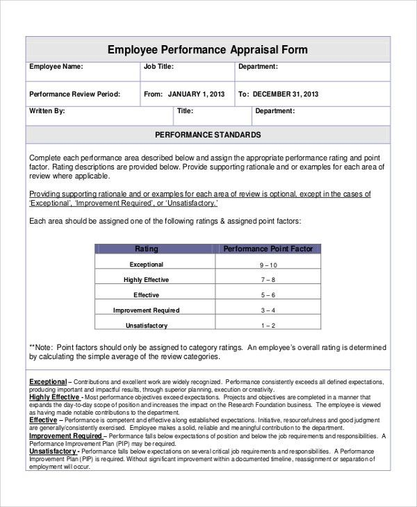 Attractive Sample Performance Appraisal Form For Business Employee ...