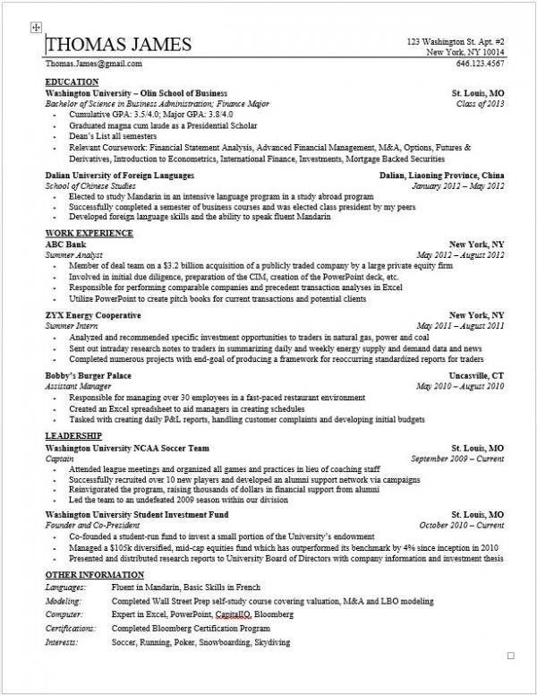 Private Equity Resume Template | Wall Street Oasis...