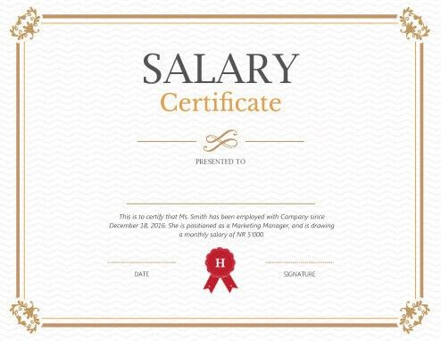 Printable Salary Certificate Templates [Free Download]