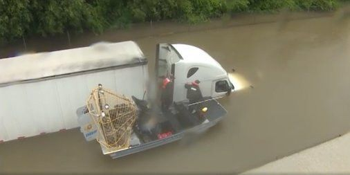 Hurricane Harvey video shows rescue of truck driver - Business Insider