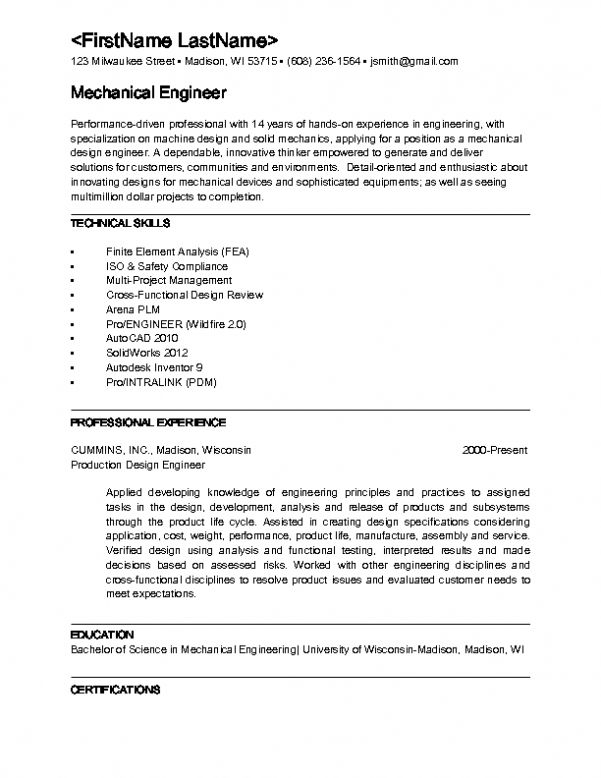 Entry Level Chemical Engineer Resume Mechanical Engineering Resume ...
