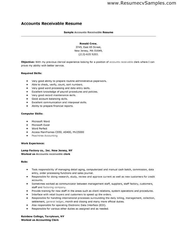 Best Accounts Receivable Clerk Resume Example - Writing Resume ...