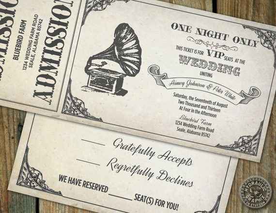 Vintage Gramophone Wedding Ticket Invitation and RSVP, Steampunk ...