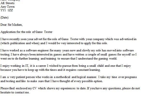 Qa Games Tester Cover Letter