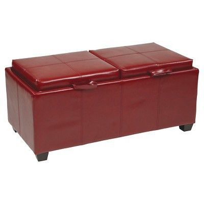 OSP Designs Storage Ottoman with Dual Trays and Seat Cushions ...