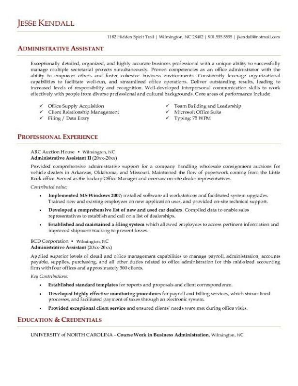 professional executive assistant resume executive assistant free