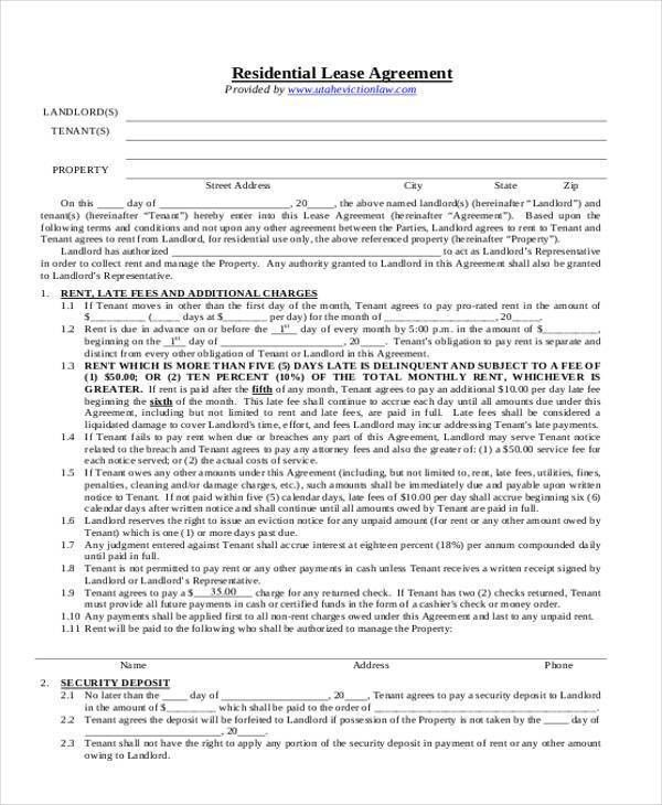 8+ Residential Lease Agreement Form Samples - Free Sample, Example ...