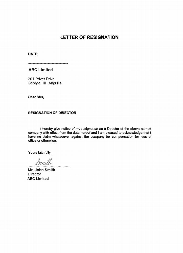 Resignation Letter Ireland
