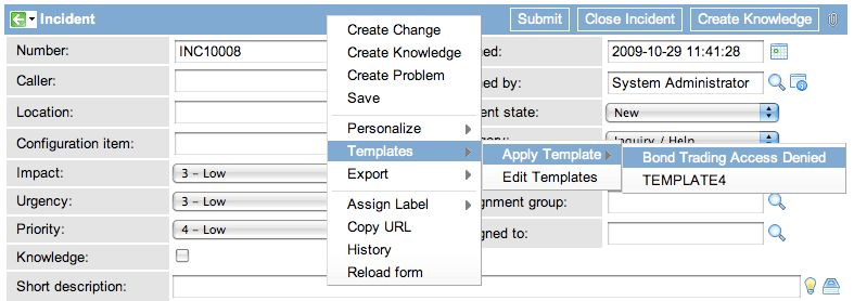 Creating an Incident Template - ServiceNow Wiki
