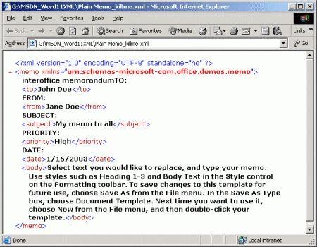 Microsoft Office Word 2003 XML: Memo Styles Sample