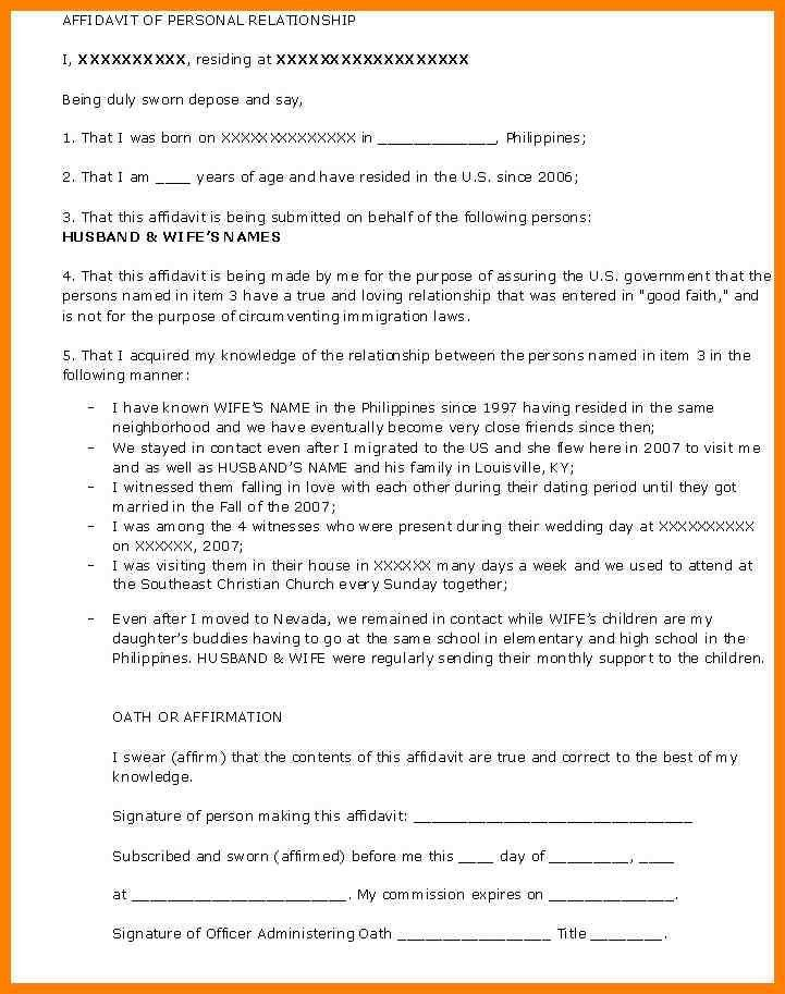 7+ good faith marriage affidavit letter sample | artist resumes