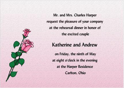 Smell the Roses - Elegant Wedding Rehearsal Dinner Invitations