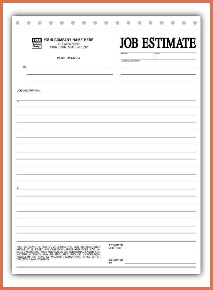 Estimate Forms. This Standard Sales Estimate Form Can Be Used To ...