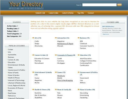 PHP Link Directory Template Archive - List of Templates for Version4.1