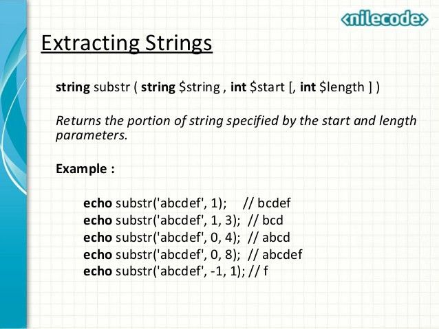 Class 5 - PHP Strings