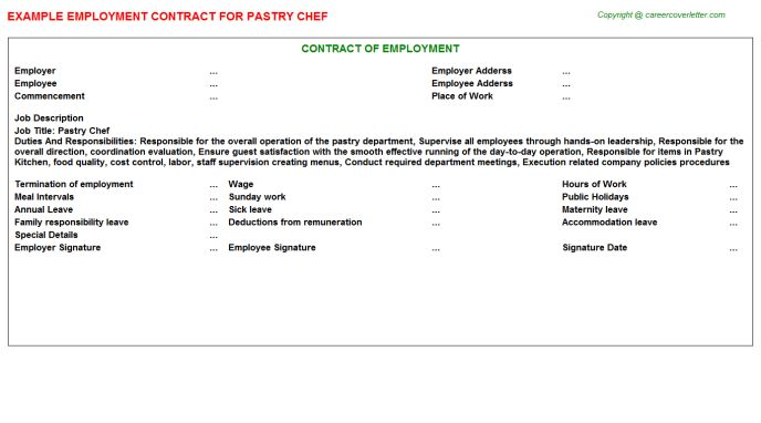 Pastry Chef Employment Contract