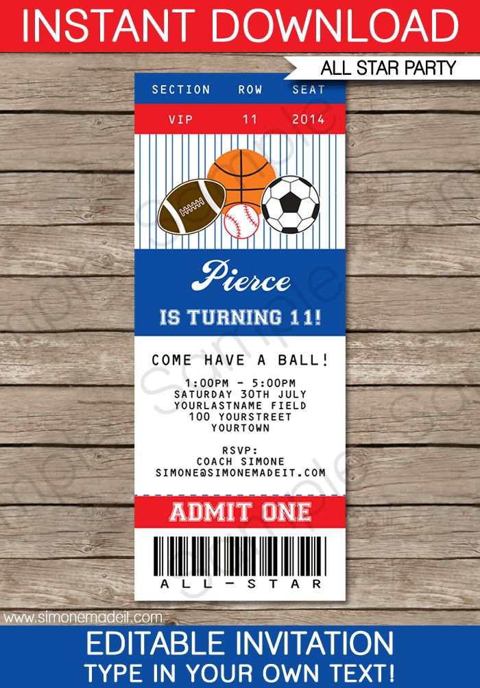 All Star Sports Ticket Invitations Template | Ticket invitation ...